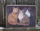 Friendly Cats Vintage Tin Can Box Canister