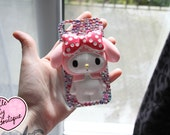 SALE Ready To Ship Custom Made Rhinestone Decoden My Melody Cell Phone Case