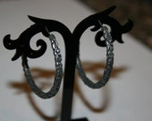 Bohemian Chic Styled Black Hoop Earrings with  Scrolled Texture