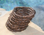Chocolate Cuff Wood Bead Bracelet-Bathing Suit Jewelry