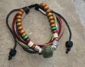 """Leather Hemp Bracelet or Anklet with Wood """"Barrel Knot"""""""