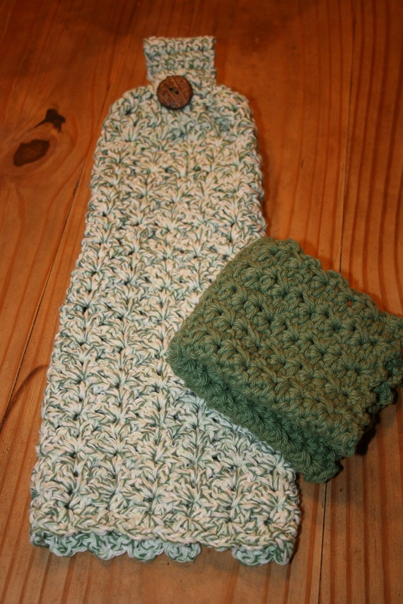 Crochet Hanging Dish Towel and Dishcloth by SunnyDays413 on Etsy