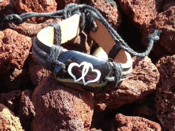 Two Hearts Leather Cuff Bracelet Bridal Shower Favor  Free Ship USA