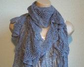 Trendy,Fashion,Tasseled Grey Scarf,2012 Trend,High Fashion,Hand Made Trendy Scarf