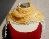 Ecru&Yellow Scarf With Lacy,2012 Fashion,Traditional, The Latest Fashion,Best Gift for all special day