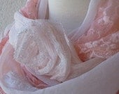 Pink Scarf With Big Roses,For Bridemades,Elegance,Shawl,Scarf
