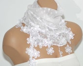 White Lacy Edge Scarf- Polka Dot Print-Floral Lace-SHAWL-Women Cowl-Headband-2012 Fashion-Turkish Traditional Scarf