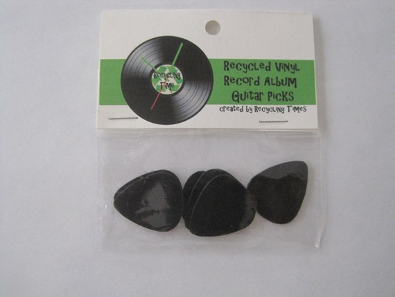Set of 6 - Guitar Picks Upcycled from Vinyl LP Record Album