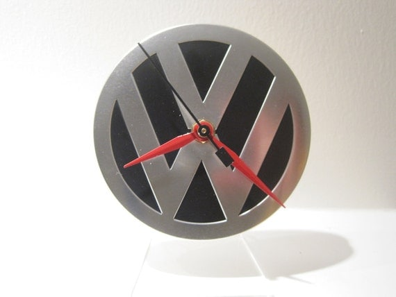 Upcycled VW Volkswagen Coaster Tin Desk Clock w/acrylic stand