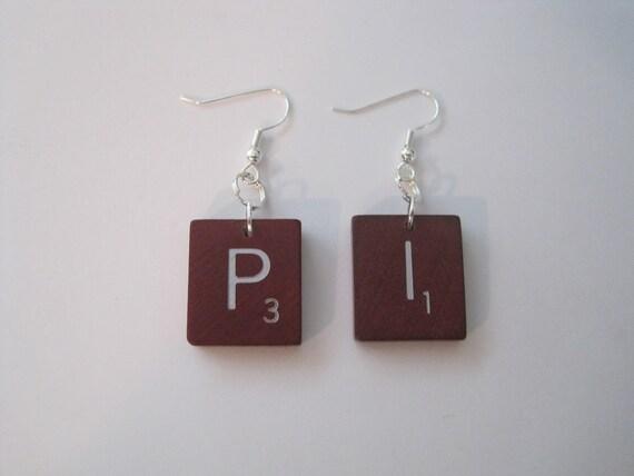 Deluxe Edition Scrabble Tile Earrings - PI 3.14