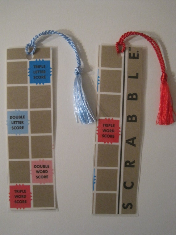 2 Scrabble  Bookmarks Upcycled from actual scrabble board game