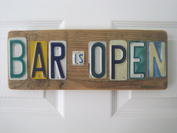 "Barn Board License Plate BAR IS OPEN"" - Upcycled"