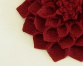Felt Dahlia Flower Convertible in Ruby Red- Headband Hair Clip Pin- Made to Order