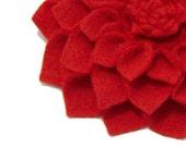 Felt Dahlia Flower Convertible in Red- Headband Hair Clip Pin