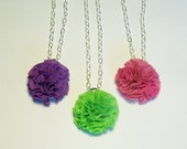 Single Fabric Pom Necklace in Bold Solids- Pick Your Color