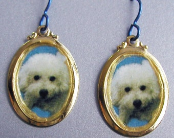 Bichon Frise Dog Love Earrings