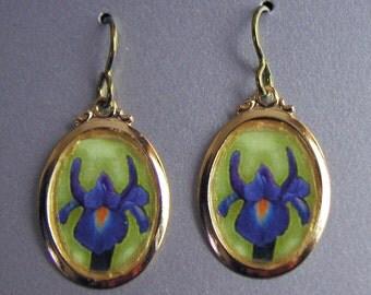 Purple Iris Flower Earrings
