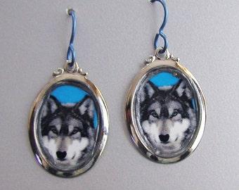 Grey WOLF Love Earrings Custom Available