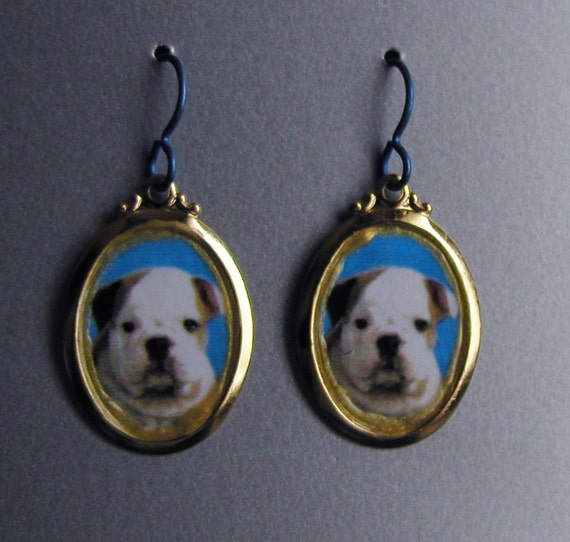 Baby Bulldog Puppy Love Earrings