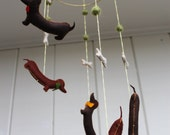 Dressed Up Dachshund Mobile - hand sewn felt stuffed dogs with bow ties, decorative hanging mobile