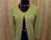 Vintage green cashmere cardigan sweater