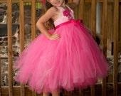 Fancy Pink Tutu Dress, flower girl dress, tutu dress, flower girl tutu dress, Halter dress,