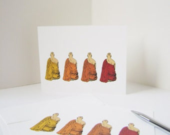 Buddhist Monks Note Cards