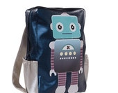 Set of two: Backpack and iPhone case - Robot figure print - Faux leather