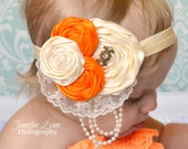 Baby Girls Headbands... Newborn Photography Prop... Orange and Cream