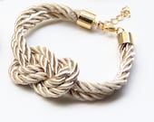 Arm candy - Beige Gold silk Knot Bracelet - 24k gold plated