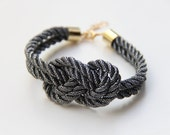 Arm party - braided nautical rope bracelet  - Silver black knot cord Bracelet - 24k gold plated