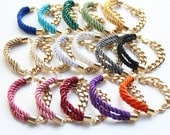 Arm Candy - Half and half - Gold chunky chain and Silk Bracelet - Woven bracelets, chain bracelets, stackable bracelets, rainbow bracelet