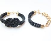 Black and Gold chunky chain and Knot Silk Bracelet set