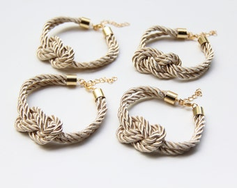 Bridesmaids gifts Set of 4 - Beige silk cord Knot Bracelet  - 24k gold plated