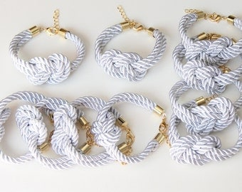 Set of 10 - White silk cord Knot Bracelet - bridesmaids gift