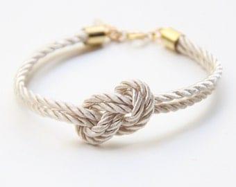 Bridesmaid gift - Small White silk Knot Bracelet - tie the knot bracelet, nautical bracelet, wedding gift, baby shower gift, beach wedding