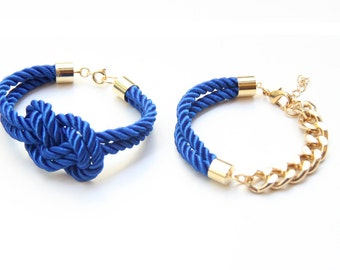 Arm candy - Blue and Gold chunky chain and Knot Silk Bracelet set