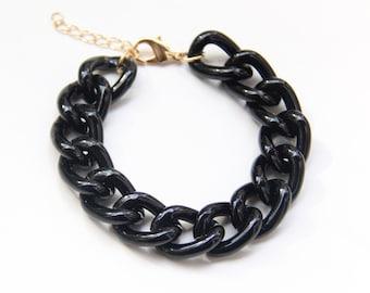 ON SALE: Black chunky chain Bracelet - Birthday Gift / Graduation / Inspirational