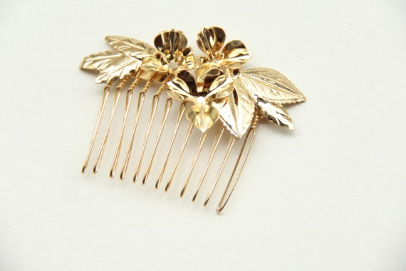 Gold flowers Bridal hair comb - 24k Gold plated - Victorian shabby chic vintage style