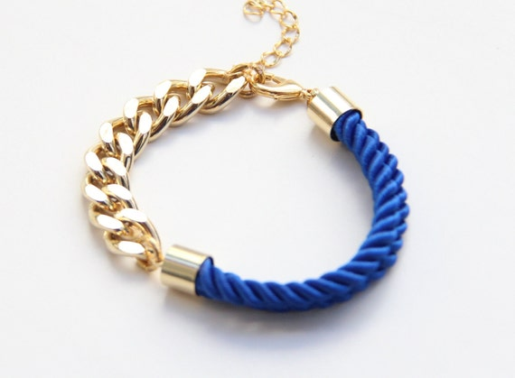 Arm candy - Half and Half: Gold chunky chain and Blue silk Bracelet