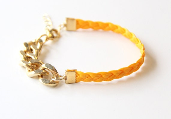 ON SALE: Arm party - Gold chunky chain with Yellow leather braid Bracelet - 24k gold plated