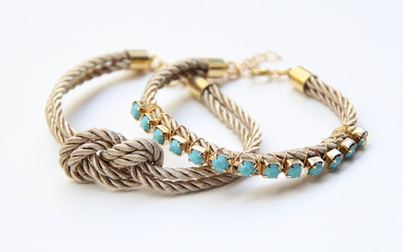 Beige silk Knot Bracelet and beige silk bracelet with Turquoise rhinestone