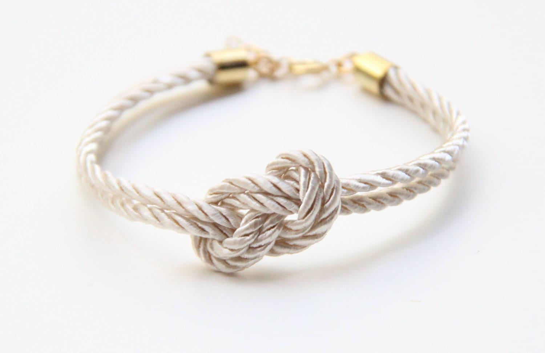 Bridesmaid gift Small White silk Knot Bracelet tie the