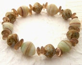 Green/Brown Stretch Bracelet with Glass Pebble Shaped Beads, Earth Tones, Woodland, Natural, Fun, Simple, Delicate