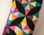 Baby Quilt, Wall Hanging - Kaleidoscope in Pastel and Bright Hand Dyed Cotton with Black