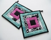 Quilted Pot Holders - Aqua, Fuchsia Pink, Black and White Fabric Hot Pads