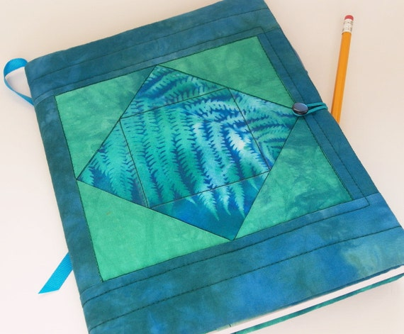 Journal Cover - Quilted Notebook Cover in Cerulean Blue, Aqua, Jade Green Hand Painted and Dyed Fabric