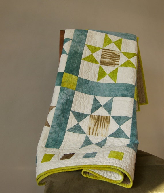 Lap Quilt, Twin Bed Coverlet, Bed Topper, Large Sofa Throw Blanket - Ivory, Teal, Chartreuse, Brown, Tan Ohio Star Quilt