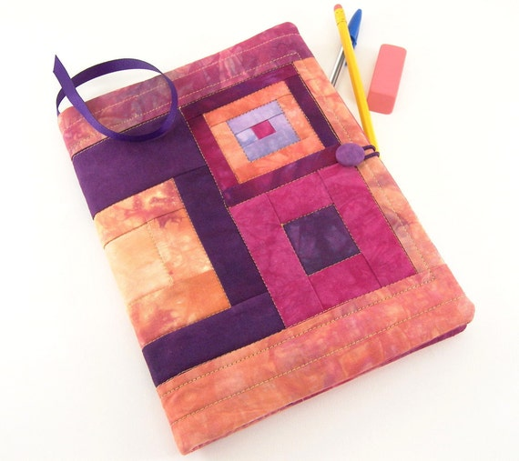 Composition Notebook Cover, Quilted Journal in Plum, Magenta, and Peach Hand Dyed Fabrics