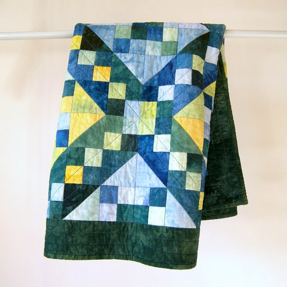 Baby Boy Quilt or Quilted Wall Hanging - Jacob's Ladder in Hand Dyed Blue, Green, and Yellow